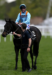 Ventura Rebel ridden by jockey Paul Hanagan after winning the Irish Thoroughbred Marketing Royal Ascot Two-Year-Old Trial Conditions Stakes during Royal Ascot Trials Day at Ascot Racecourse.