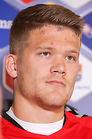 CLUJ-NAPOCA, ROMANIA, MARCH 26: Denmark's national soccer player Andreas Cornelius pictured at the press conference before the 2018 FIFA World Cup qualifier soccer game between Romania and Denmark, on March 25, at Cluj Arena Stadium, in Cluj-Napoca, Romania. (Photo by Mircea Rosca/Getty Images)