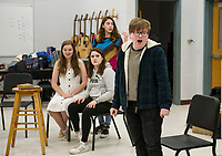 """Juliet"" E. Lacey, ""Lady Macbeth"" K. Trudeau and ""Cleopatra"" O. Burwell with ""William Shakespeare"" M. Maas-Kisiel at Belmont High School during rehearsal for the one-act ""While Shakespeare Slept"" Wednesday afternoon."