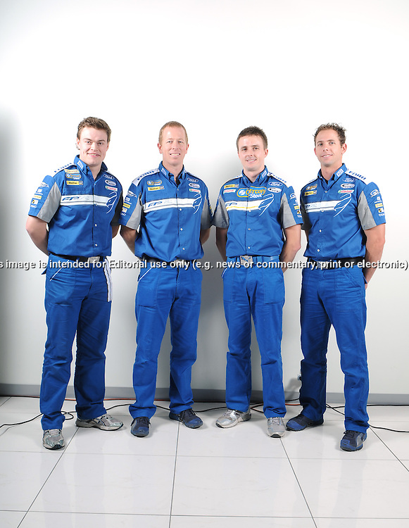 James Moffat, Steve Richards, Mark Winterbottom, Luke Youlden.FPR Enduro Drivers Line up.Ford Performance Racing Workshop.Campbellfield, Victoria.28th July 2010.(C) Joel Strickland Photographics.Use information: This image is intended for Editorial use only (e.g. news or commentary, print or electronic). Any commercial or promotional use requires additional clearance.