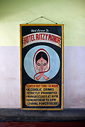 Hand painted sign for the Hotel Ritzy Manor, Chandannagar, India