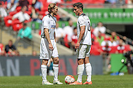Aaron Burch (Hereford FC) and Pablo Haysham (Hereford FC) about to take a free kick during the FA Vase match between Hereford and Morpeth Town at Wembley Stadium, London, England on 22 May 2016. Photo by Mark Doherty.