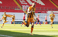 Hull City's Josh Magennis celebrates scoring the opening goal<br /> <br /> Photographer Rich Linley/CameraSport<br /> <br /> The EFL Sky Bet League One - Lincoln City v Hull City - Saturday 24th April 2021 - LNER Stadium - Lincoln<br /> <br /> World Copyright © 2021 CameraSport. All rights reserved. 43 Linden Ave. Countesthorpe. Leicester. England. LE8 5PG - Tel: +44 (0) 116 277 4147 - admin@camerasport.com - www.camerasport.com