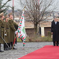 Abdullah Gul (L) president of Turkey and his Hungarian counterpart Janos Ader (R) inspect the guard of honor during a welcoming ceremony in Budapest, Hungary on February 17, 2014. ATTILA VOLGYI