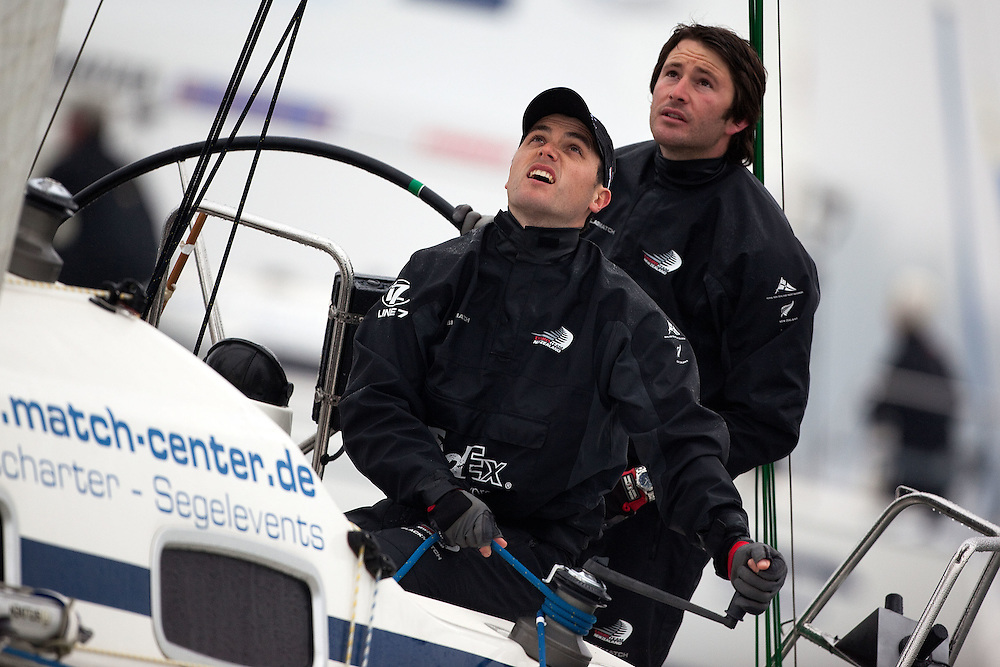 Adam Minoprio (R) and Tom Powrie (L) during their match against Kathrin Kadelbach. World Match Race Tour. Match Race Germany. Langenargen, Germany. 20 May 2010. Photo: Gareth Cooke/Subzero Images/WMRT