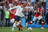 Mathias JORGENSEN of Denmark and Antoine GRIEZMANN of France during the 2018 FIFA World Cup Russia, Group C football match between Denmark and France on June 26, 2018 at Luzhniki Stadium in Moscow, Russia - Photo Thiago Bernardes / FramePhoto / ProSportsImages / DPPI