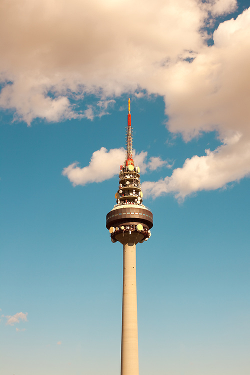 Broadcasting TV tower Torre Espana (Spain Tower) also know as El Piruli, Madrid, Spain