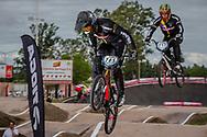 #785 (CALIXTO LOPEZ Miguel Alejandro) COL and #717 (JIMENEZ CAICEDO Andres Eduardo) COL at the 2016 UCI BMX Supercross World Cup in Santiago del Estero, Argentina
