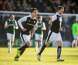 Raith Rovers Jon Daly cele scoring their goal. <br /> Raith Rovers 1 v 2 Hibernian, Scottish Championship game played 24/10/2015 at Starks Park.
