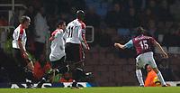 Photo: Daniel Hambury.<br />West Ham United v Fulham. The Barclays Premiership. 23/01/2006.<br />West Ham's Yossi Benayoun scores to make it 2-0.