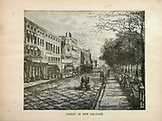 Street in New Orleans from The merchant vessel : a sailor boy's voyages to see the world [around the world] by Nordhoff, Charles, 1830-1901 engraved by C. LaPlante; some illustrations by W.L. Wyllie Publisher New York : Dodd, Mead & Co. 1884