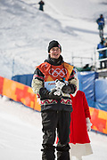 Mark McMorris from Canada, 3rd. Celebrations following, Redmond Gerard, USA, winning the mens Snowboard Slopestyle Finals at the Pyeongchang Winter Olympics on the 11th February 2018 in Phoenix Snow Park in South Korea