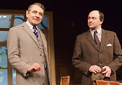 "© Licensed to London News Pictures. 25/01/2013. London, England. L-R: Rowan Atkinson as St. John Quartermaine and Will Keen as Derek Meadle. Rowan Atkinson stars as St. John Quatermaine in ""Quartermaine's Terms"" at the Wyndham's Theatre, London. The tragicomic play was written by Simon Gray; direction by Richard Eyre. Bettina Strenske/LNP"