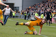 Newport County's Mark O'Brien falls over in excitement as he celebrates after scoring his sides vital match winning goal . EFL Skybet football league two match, Newport county v Notts County at Rodney Parade in Newport, South Wales on Saturday 6th May 2017.<br /> pic by David Richards, Andrew Orchard sports photography.