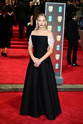 Jennifer Lawrence attending the EE British Academy Film Awards held at the Royal Albert Hall, Kensington Gore, Kensington, London.