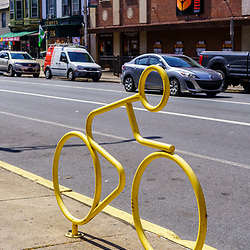 Harrisburg, PA / USA - May 15, 2020: A Bicycle rack located on Second Street in the downtown part of the city.