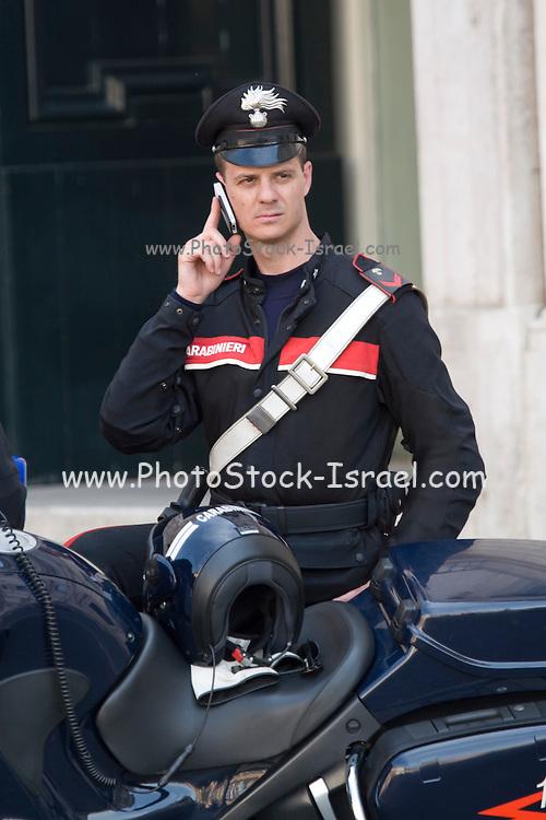 Italy, Rome, Piazza Navona Italian policeman and motorcycle