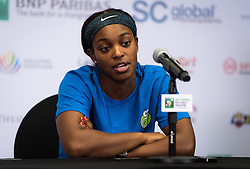 October 26, 2018 - Kallang, SINGAPORE - Sloane Stephens of the United States talks to the media after qualifying for the semifinals at the 2018 WTA Finals tennis tournament (Credit Image: © AFP7 via ZUMA Wire)