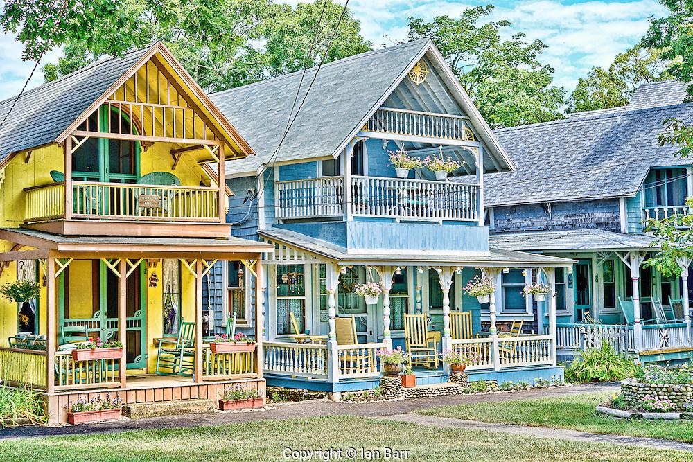 Colorful Gingerbread Cottages at Oak Bluffs Martha's Vineyard, Massachusetts, USA. New England.