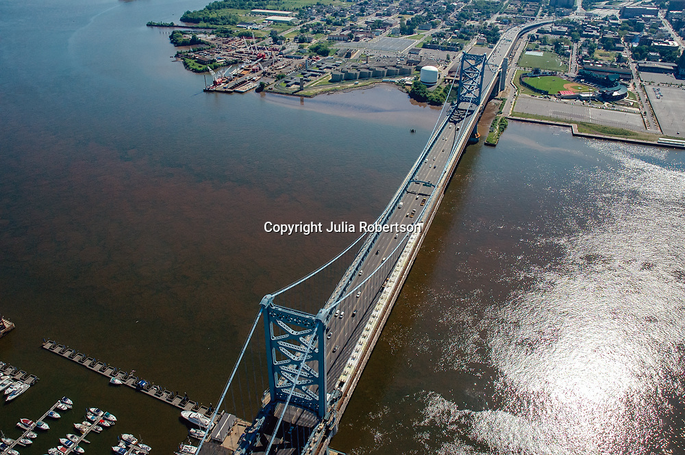 Aerial view of Walt Whitman Bridge  and the<br />  Delaware River