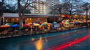 River Walk in San Antonio, Texas in colorful  light
