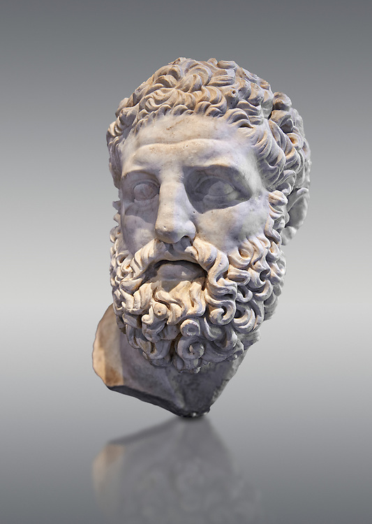 Roman sculpture head of Hercules, mid 2nd cent AD excavated from the Vale Giardino, Nemi. The head was probably made separately for the insertion onto a statue, probably depicting the gold seated. The work is a copy of a Greek original of the late Hellenistic period, inspired by a statue by the Greek sculptor Lysippos of Sicyon known as the 'Herakles Epitapezios' sculpted around 300 BC. The National Roman Museum, Rome, Italy .<br /> <br /> If you prefer to buy from our ALAMY PHOTO LIBRARY  Collection visit : https://www.alamy.com/portfolio/paul-williams-funkystock/roman-museum-rome-sculpture.html<br /> <br /> Visit our ROMAN ART & HISTORIC SITES PHOTO COLLECTIONS for more photos to download or buy as wall art prints https://funkystock.photoshelter.com/gallery-collection/The-Romans-Art-Artefacts-Antiquities-Historic-Sites-Pictures-Images/C0000r2uLJJo9_s0