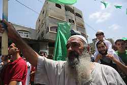 July 28, 2017 - Gaza City, Gaza Strip, Palestinian Territory - Palestinian supporters of Hamas movement and Islamic Jihad take part in a protest against the recent closure of the Al-Aqsa Mosque compound by Israel, in Jabalia refugee camp in the northern Gaza strip, on July 23, 2017  (Credit Image: © Mohammed Asad/APA Images via ZUMA Wire)