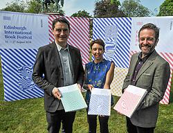 Pictured: (left to right) Nick Barley Festival Director, Janet Smyth Education Program Director, Roland Gulliver Associate Director.<br /> <br /> The programme for the 2018 Edinburgh International Book Festival was launched in Edinburgh today (Thursday).<br /> <br /> © Dave Johnston / EEm