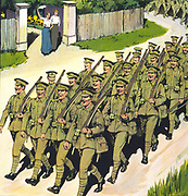(Detail from a ) Poster showing a battalion marching down a lane, as two women standing by a gate watch and wave. This was a propaganda poster in England during the First World War. dated 1915-16