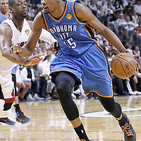 21 June 2012: Oklahoma City Thunder small forward Kevin Durant (35) drives past Miami Heat shooting guard Dwyane Wade (3) during the Miami Heat 121-106 victory over the Oklahoma City Thunder, in Game 5 of the 2012 NBA Finals, at the AmericanAirlinesArena, Miami, Florida, USA. The Miami Heat wins the series 4-1.