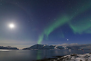 Moonlit mountains with Northern Lights, Tromsø (16mm, superwide angle)