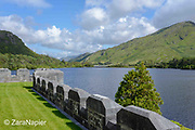 Kylemore Abbey, a view from the front of the Abbey looking east across Pollacappul Lake. A Benedictine community open seven days a week all year round. Located in Connemara in the west of Ireland. Built by Mitchell and Margaret Henry in the 1850's.