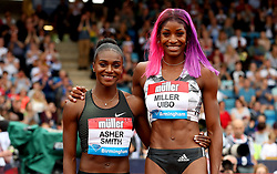 Great Britain's Dina Asher-Smith (left) with Bahamas' Shaunae Miller-Uibo after the Women's 200m during the Muller Grand Prix at Alexander Stadium, Birmingham.