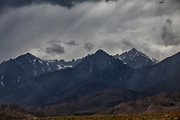 Eastern Sierra Nevada Mountains during Thunderstorm, Highway 395 near Lone Pine, Owens Valley, Inyo County, California, USA