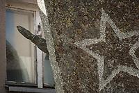 Dubicze Cerkiewne, woj. podlaskie, 28.03.2018. Rozbiorka pomnika wdziecznosci zolnierzom Armii Czerwonej odsolnietego w 1985 roku . Jego rozbiorke do konca marca 2018 roku nakazuje tzw. ustawa dekomunizacyjna N/z pomnik zostal przeniesiony na posesje gmina i postawiony frontem do sciany , zeby nie byl widoczny z ulicy fot Michal Kosc / AGENCJA WSCHOD