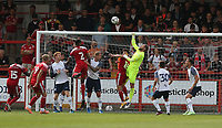Preston North End's Declan Rudd punches clear from Accrington Stanley's Rhys Fenlon<br /> <br /> Photographer Stephen White/CameraSport<br /> <br /> Football Pre-Season Friendly - Accrington Stanley v Preston North End - Saturday 24th July 2021 - Crown Ground - Accrington<br /> <br /> World Copyright © 2021 CameraSport. All rights reserved. 43 Linden Ave. Countesthorpe. Leicester. England. LE8 5PG - Tel: +44 (0) 116 277 4147 - admin@camerasport.com - www.camerasport.com