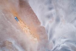 Eduard Nikolaev, Evgenii Iakovlev and Vladimir Rybakov in the Kamaz of the KAMAZ Master Team navigating in the sand during stage 4 of the Dakar Rally, between Arequipa and Tacna, Peru, on January 10, 2019.