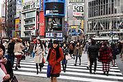 Tokyo, Shibuya - people on Shibuya crossing, also called Hachiko crossing.