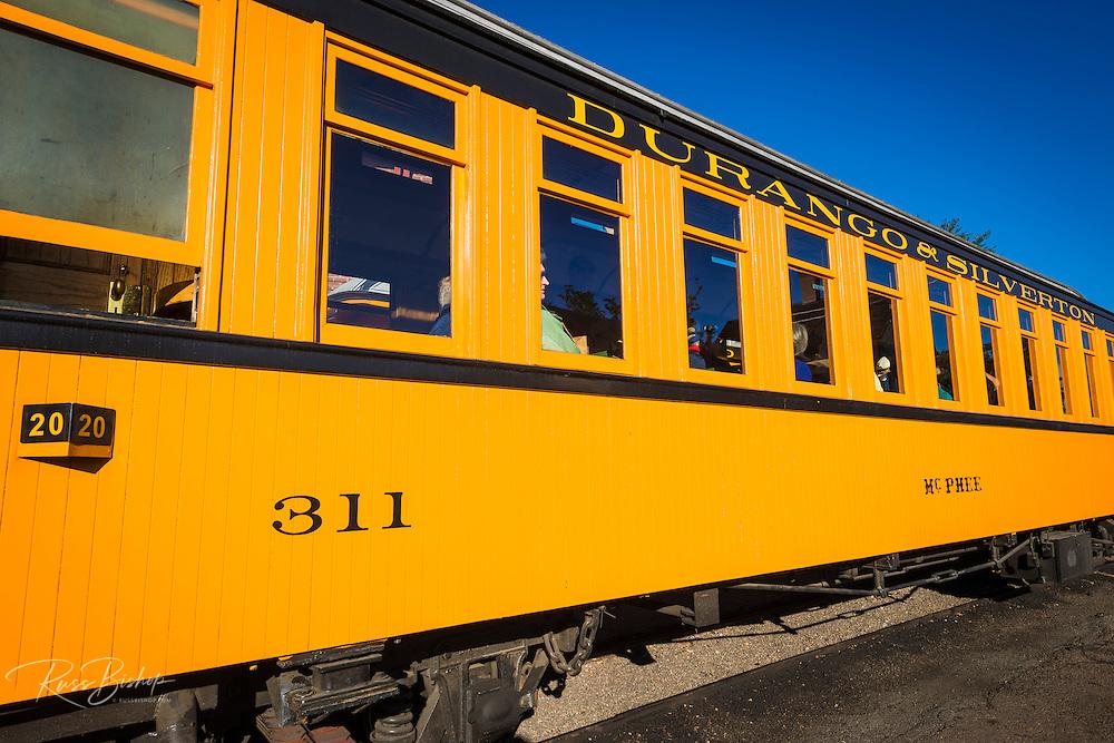Passenger car on the Durango & Silverton Narrow Gauge Railroad, Durango, Colorado USA