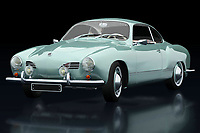 The Volkswagen Karmann Ghia was built to boost Volkswagen's image. Here Jan Keteleer has shown this Volkswagen Karmann Ghia in an original color from 1959 seen from the side. Volkwagen has with this Karmann Ghia one of the most beautiful Volkswagens ever made. -
