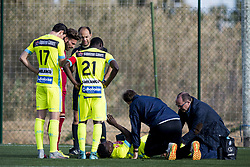 January 9, 2018 - Oliva, SPAIN - Gent's Moses Simon lies injured on the ground during a friendly soccer match between Belgian first division club KAA Gent and German Second Bundesliga team 1. FC Nurnberg, on day five of Gent's winter training camp in Oliva, Spain, Tuesday 09 January 2018. BELGA PHOTO JASPER JACOBS (Credit Image: © Jasper Jacobs/Belga via ZUMA Press)