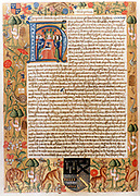 Henry VII (1457-1509) first Tudor king of England from 1485. His first act of parliament with initial portrait of king.  Border illuminated with flora and fauna. Thomas Pigot's 'Book of Statutes'.