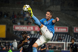 September 6, 2017 - Bronx, New York, U.S - New York City FC defender BEN SWEAT (2) jumps with a high kick while defended by Sporting Kansas City defender IKE OPARA (3) during a regular season match at Yankee Stadium, Bronx, NY.  NYCFC defeats Sporting Kansas City 1 to 0. (Credit Image: © Mark Smith via ZUMA Wire)