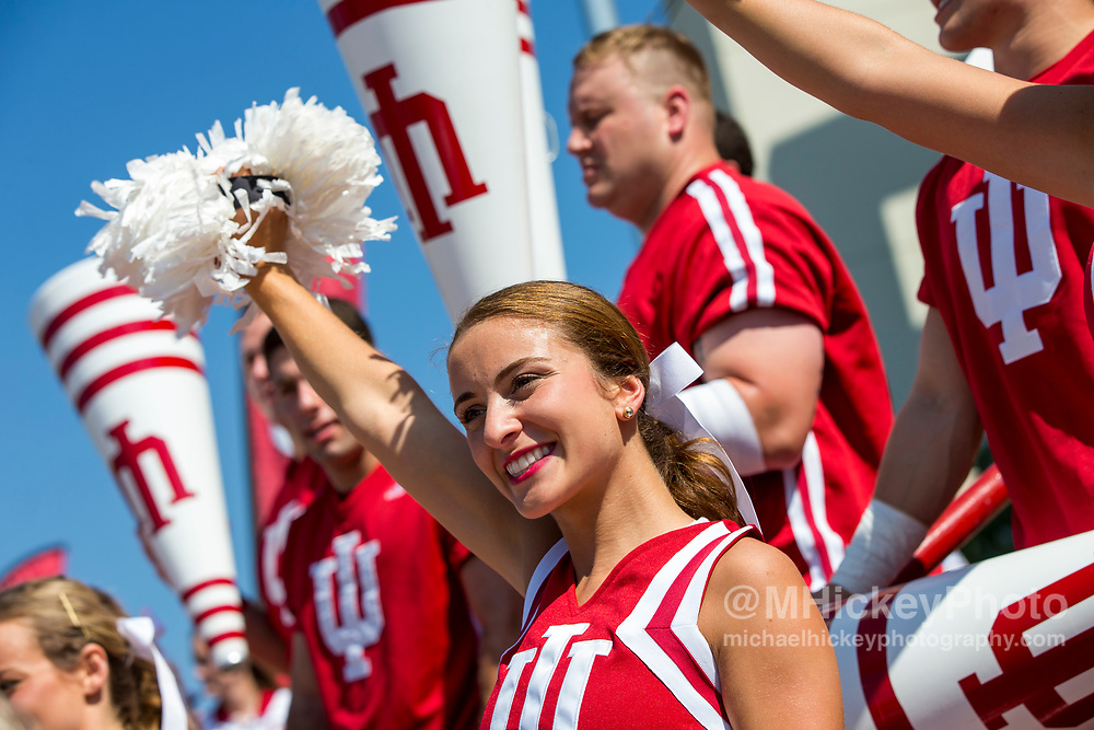 BLOOMINGTON, IN - SEPTEMBER 23: An Indiana Hoosiers cheerleader is seen before the game against the Georgia Southern Eagles at Memorial Stadium on September 23, 2017 in Bloomington, Indiana. (Photo by Michael Hickey/Getty Images)
