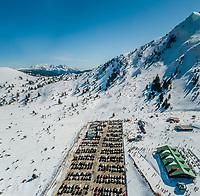 Aerial view of ski resort located at mountain range Erymanthos, Greece