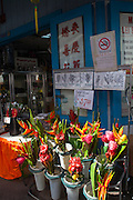 Chinatown, Honolulu, Oahu, Hawaii, flower, lei stand, market