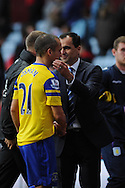 Everton manager Roberto Martinez congratulates Leon Osman at the end of the match.  Barclays Premier League, Aston Villa v Everton at Villa Park in Aston, Birmingham on Saturday 26th Oct 2013. pic by Andrew Orchard, Andrew Orchard sports photography,