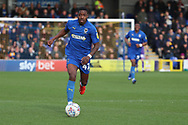 AFC Wimbledon attacker Michael Folivi (41) dribbling during the EFL Sky Bet League 1 match between AFC Wimbledon and Doncaster Rovers at the Cherry Red Records Stadium, Kingston, England on 9 March 2019.