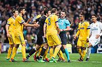 Juventus Giorgio Chiellini, Sami Khedira and Gianluigi Buffon protesting to referee during Champion League match between Real Madrid and Juventus at Santiago Bernabeu Stadium in Madrid, Spain. April 11, 2018. (ALTERPHOTOS/Borja B.Hojas)