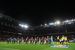 5th December 2017 - UEFA Champions League - Group A - Manchester United v CSKA Moscow - The two teams walk out at Old Trafford - Photo: Simon Stacpoole / Offside.